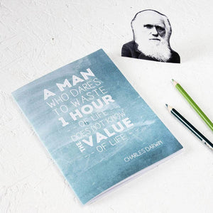 Famous Scientist Darwin Quote Teal Notebook - Newton and Apple