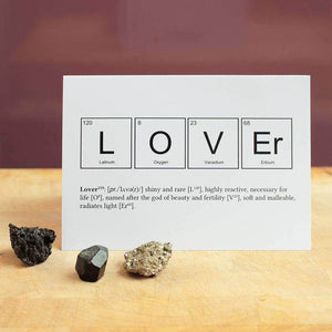 Elements of a Lover Scientific Valentines Card - Newton and Apple