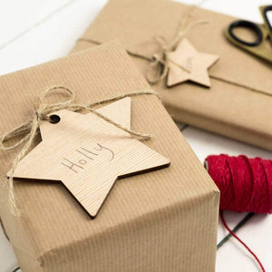 Wooden Star Gift Tag Set - Newton and Apple