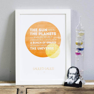 Galileo Inspirational Science Quote Print - Newton and Apple