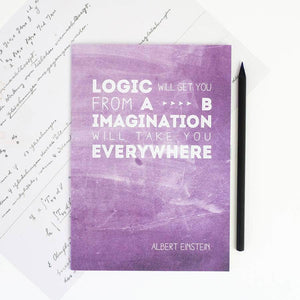 Famous Scientist Einstein Quote Purple Notebook - Newton and Apple