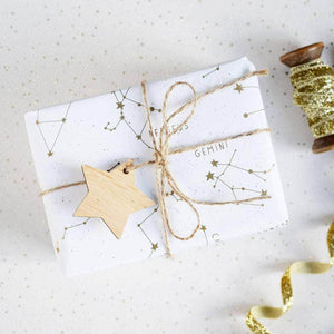 Golden Star Constellations Wrapping Paper Set - Newton and Apple