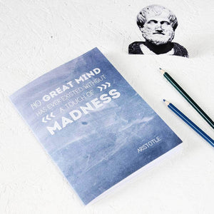 Famous Philosopher Aristotle Quote Blue Notebook - Newton and Apple