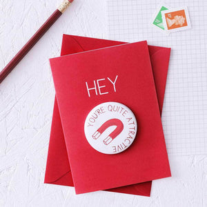 Funny Valentine's Card With Magnet Gift - Newton and Apple