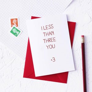Funny 'Less Than Three You' Valentine's Card - Newton and Apple