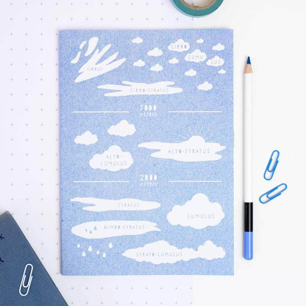 Educational Blue Cloud Types Notebook - Newton and Apple