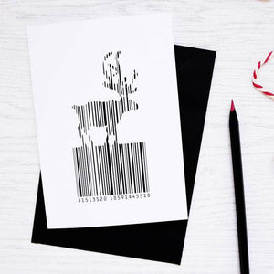 Christmas Barcode Reindeer Card - Newton and Apple