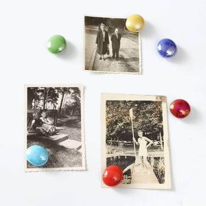 Set Of Colourful Glass Fridge Magnets - Newton and Apple