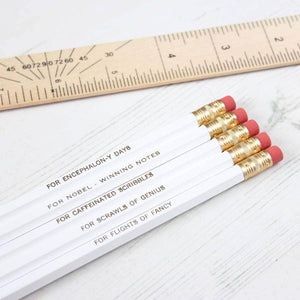 Set Of White Pencils With Purpose