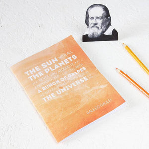 Famous Scientist Galileo Quote Orange Notebook - Newton and Apple