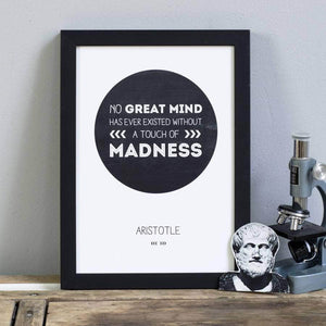 Philosopher Aristotle 'Great Minds' Quote Print - Newton and Apple