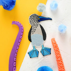 Embroidered Blue-Footed Booby Iron-On Bird Patch - Newton and Apple
