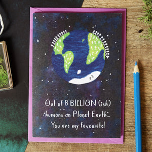 Earth Population Valentine's Day Card - Newton and Apple