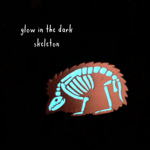 Hedgehog Skeleton Glow in the Dark Enamel Pin - Newton and Apple