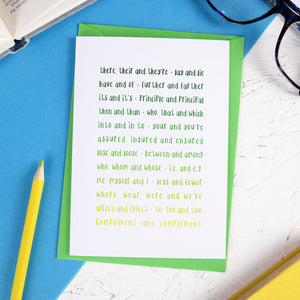 Green Grammar Greeting Card - Newton and Apple