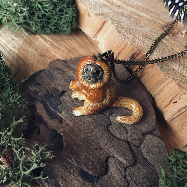 Lion Tamarin Ceramic Necklace - Newton and Apple