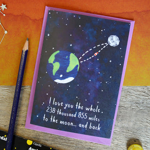 Moon And Back Father's Day Card - Newton and Apple