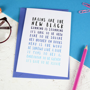 Ombre Blue Geek Greeting Card - Newton and Apple