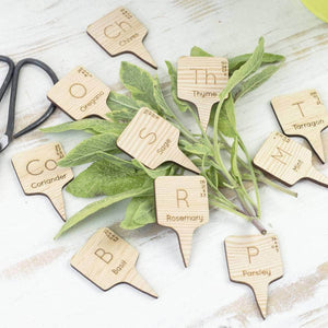 Chemical Element Wooden Herb Markers - Newton and Apple