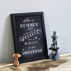 'A Book of Science...' Chalkboard Print - Newton and Apple