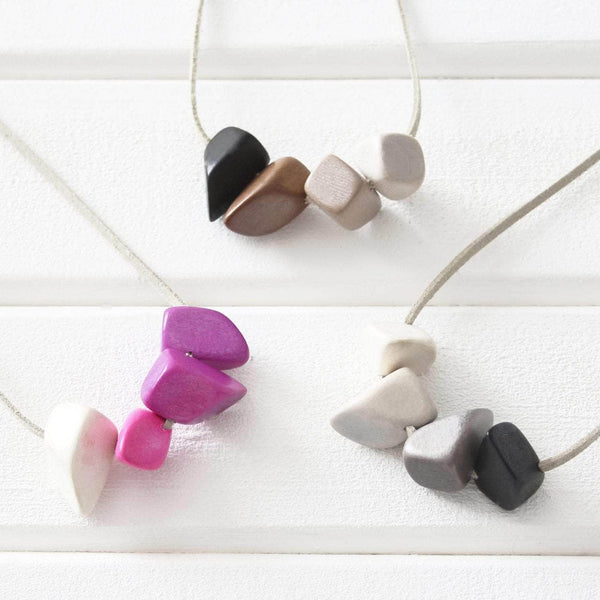 Ombre Polygons Eco-Friendly Wooden Necklace - Newton and Apple