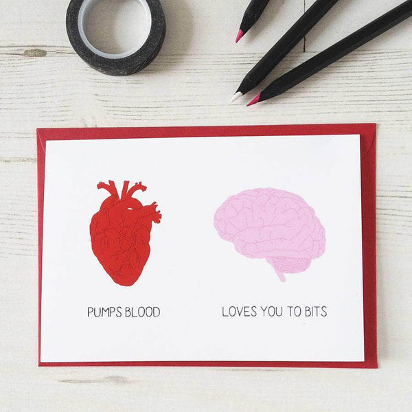 Heart and Brain Valentine's Card - Newton and Apple
