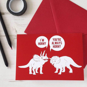 Horny Dinosaurs Valentines Card - Newton and Apple