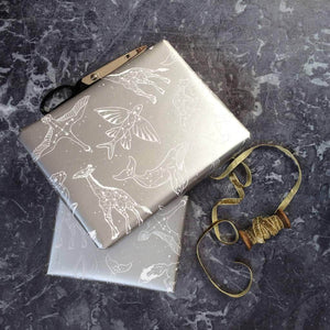 Silver Animal Star Constellations Wrapping Paper Set - Newton and Apple
