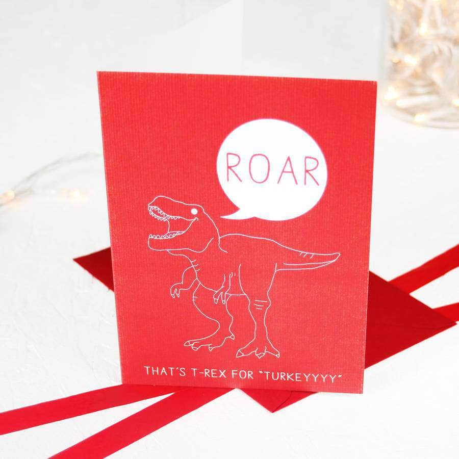 Christmas Hungry T Rex Dinosaur Card Pack - Newton and Apple