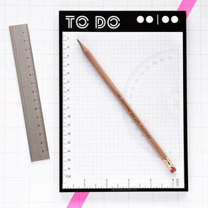 To Do List Memo Pad With Integrated Rulers - Newton and Apple