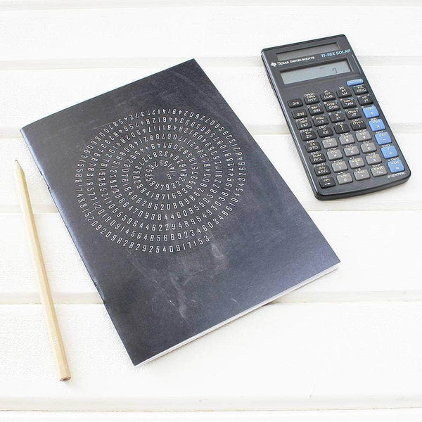 Chalkboard Maths Design Pi Notebook - Newton and Apple