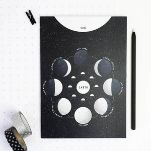Educational Moon Phases Black Notebook