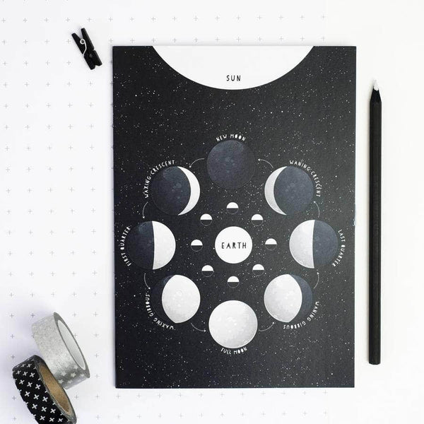 Educational Moon Phases Black Notebook - Newton and Apple