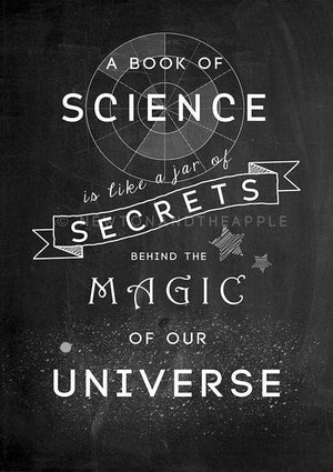 Science Is Magic Quote Notebook - Newton and Apple
