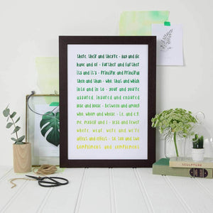 Ombre Green Print For Grammar Police - Newton and Apple