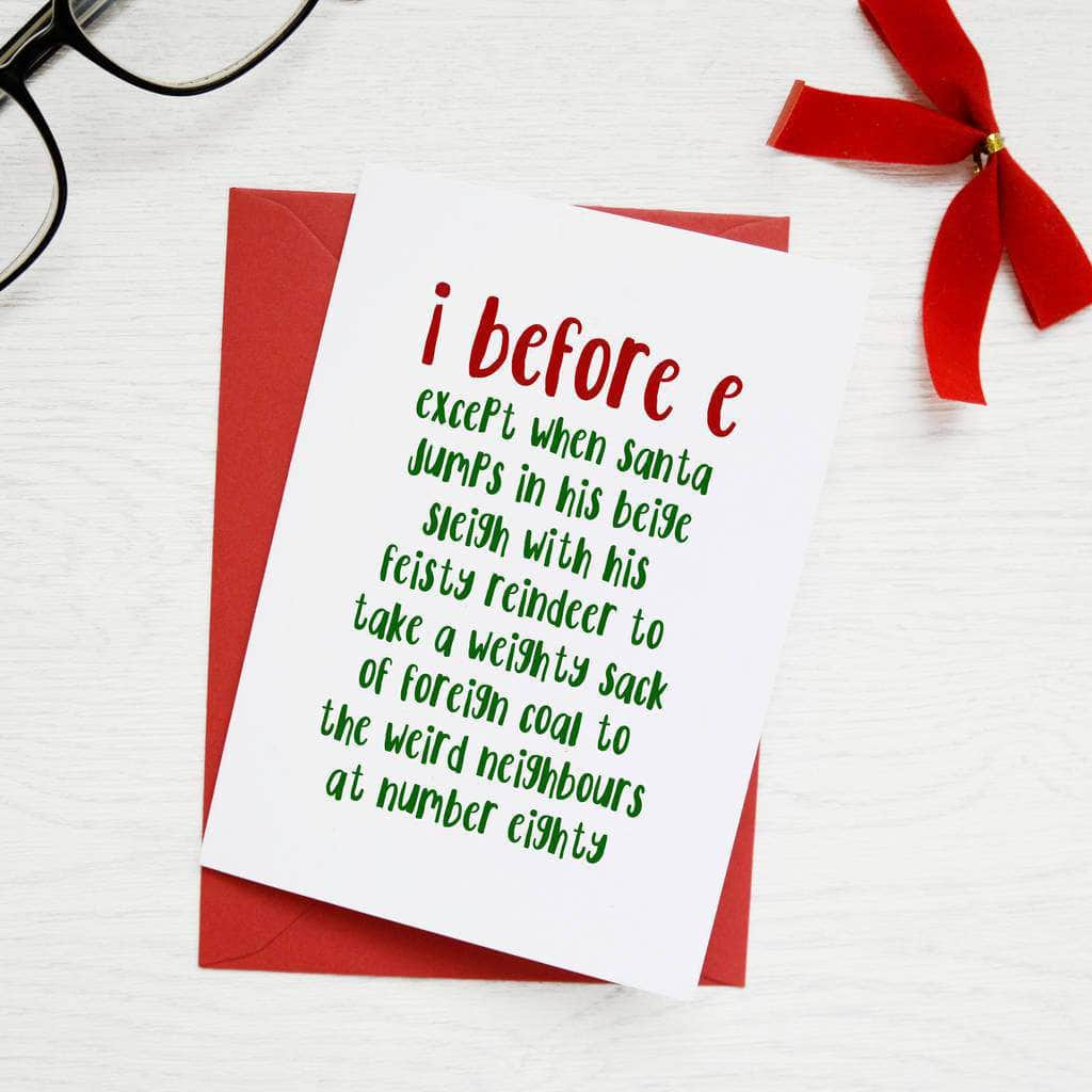 i before e grammar rule christmas card newton and apple