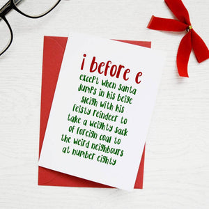 I Before E Grammar Rule Christmas Card - Newton and Apple