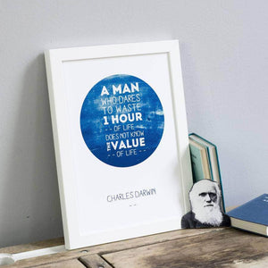 Famous Darwin 'Value Of Time' Quote Print - Newton and Apple