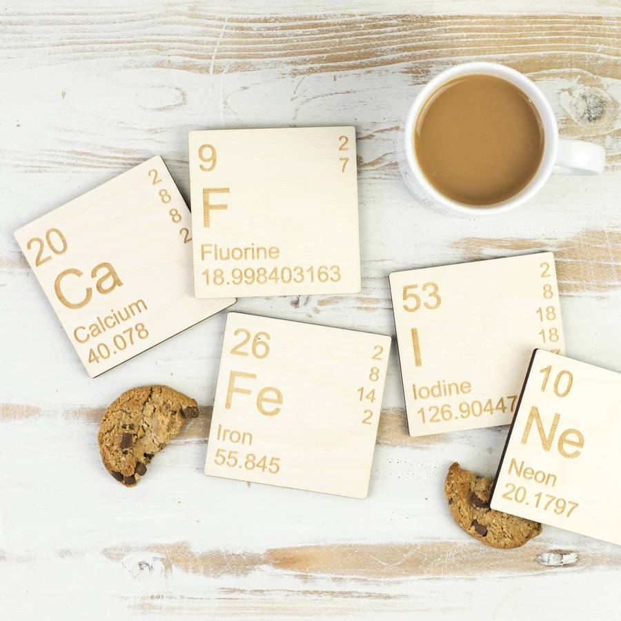 Caffeine Periodic Table Wooden Coasters Set - Newton and Apple