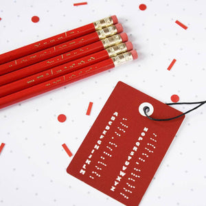 Secret Morse Message Valentines Pencil Set - Newton and Apple