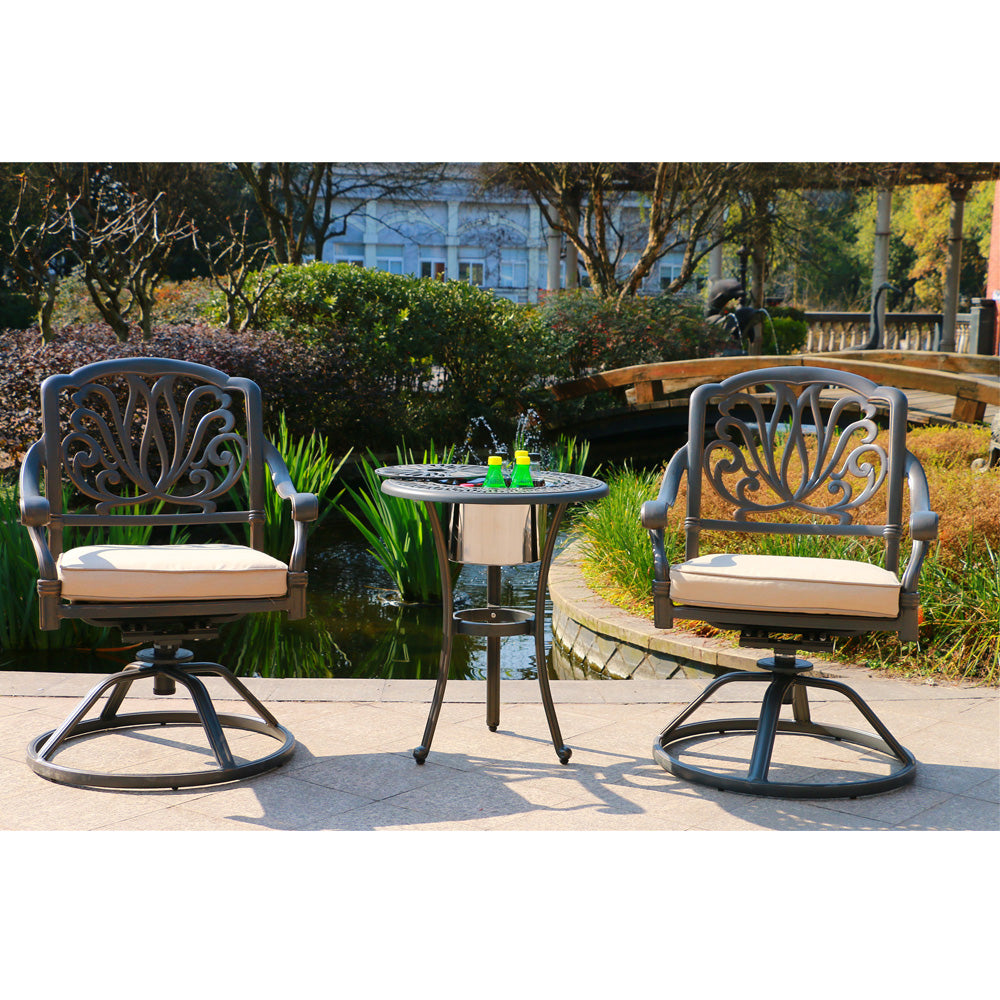 Groovy Ipatio Athens 3 Piece Gun Metal Aluminum Bistro Set Cushioned Swivel Chairs With Ice Bucket Table To Keep Your Drinks Cool Squirreltailoven Fun Painted Chair Ideas Images Squirreltailovenorg
