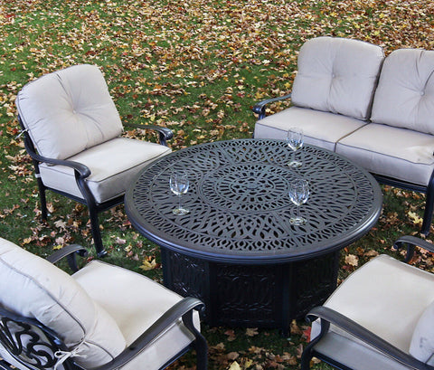 Ipatio Athens 52 Inch Chat Height Gas Fire Pit Table With Doors For