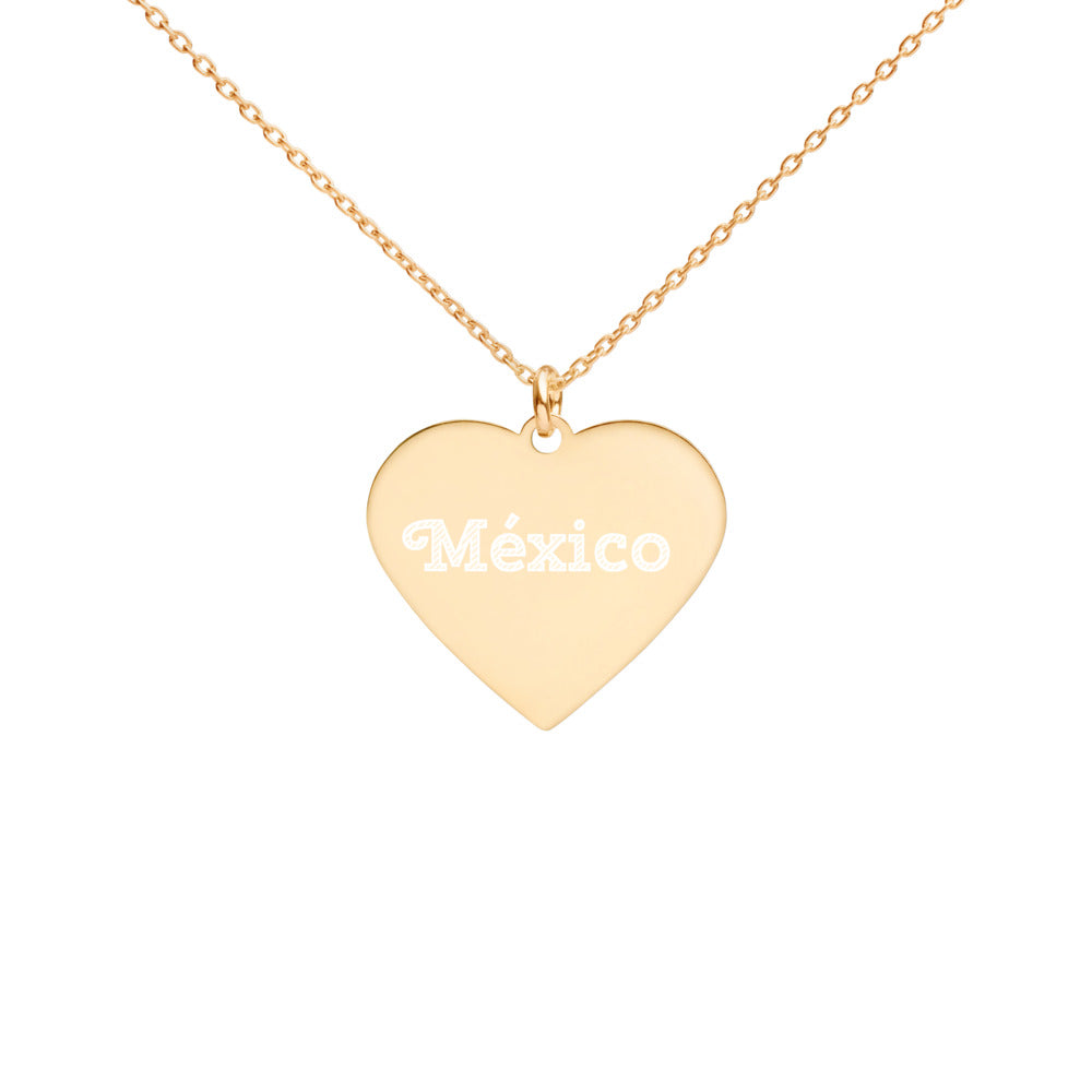Buy online High Quality México Engraved Silver Heart Necklace - Mr. Huey Shop
