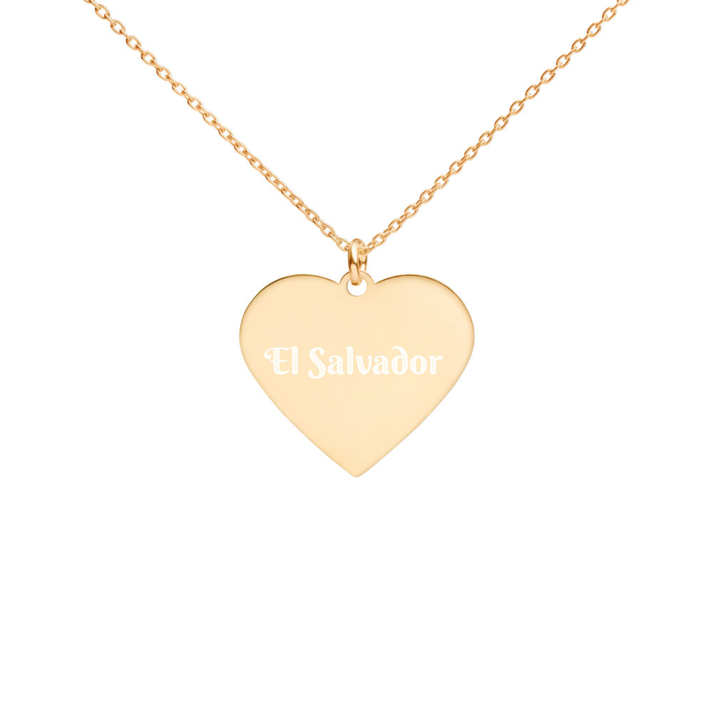 Buy online High Quality El Salvador Engraved Silver Heart Necklace - Mr. Huey Shop