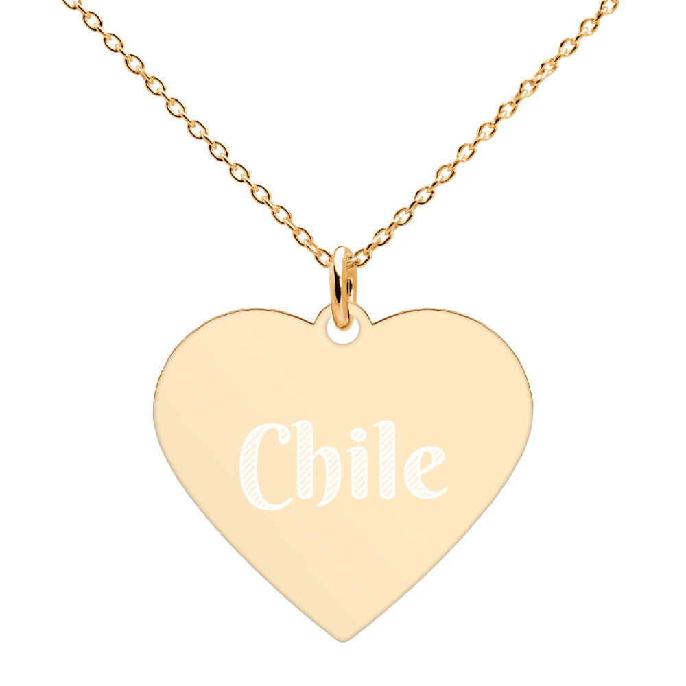 Buy online High Quality Chile Engraved Silver Heart Necklace - Mr. Huey Shop