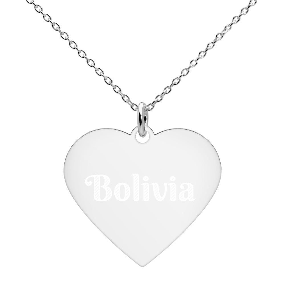 Buy online High Quality Bolivia Engraved Silver Heart Necklace - Mr. Huey Shop
