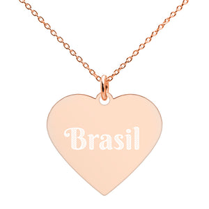 Buy online High Quality Brasil Engraved Silver Heart Necklace - Mr. Huey Shop