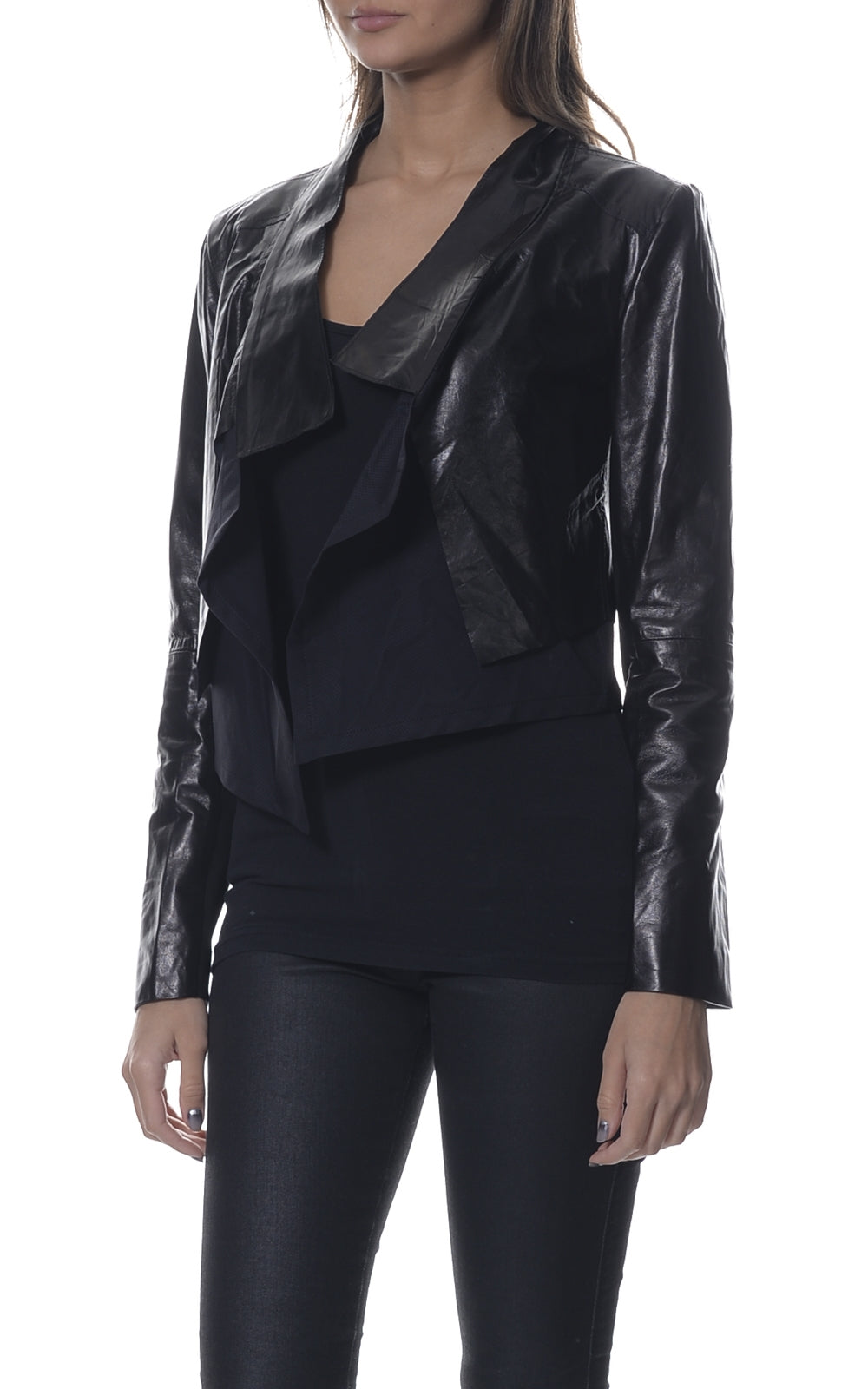 Leather Open Front Crop Jacket