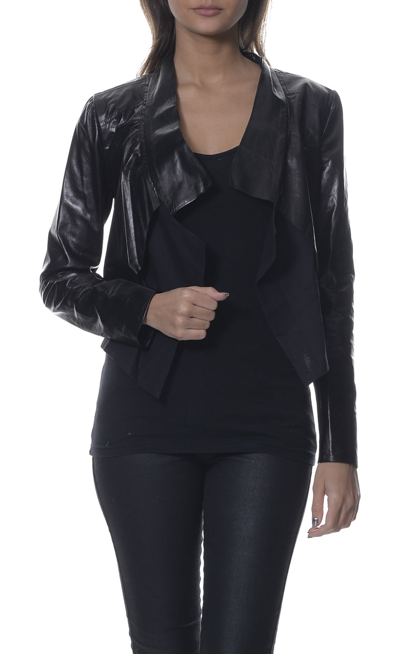 Leather Suede Contrast Crop Jacket