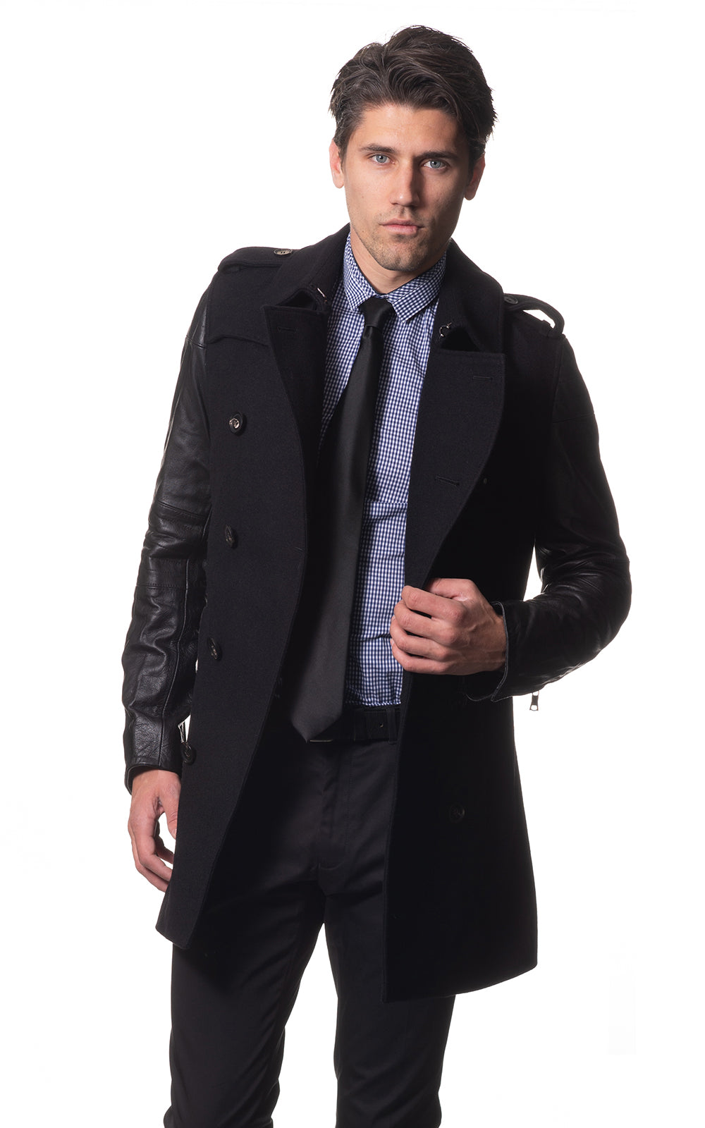 Kensington wool trench with leather contrast